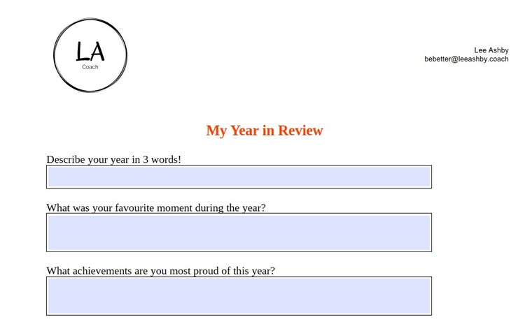 year in review questions